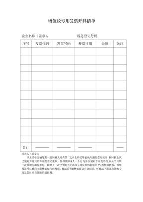 (辅导期一般纳税人月内第二次购发票所用)增值税专用发票开具清单.doc