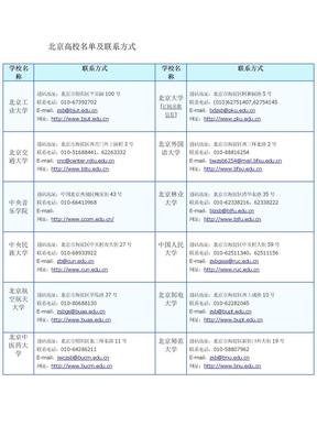 北京高校名单及联系方式.docx