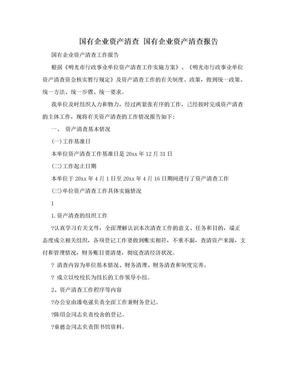 国有企业资产清查 国有企业资产清查报告.doc