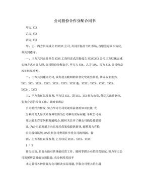 公司股份合作分配合同书.doc