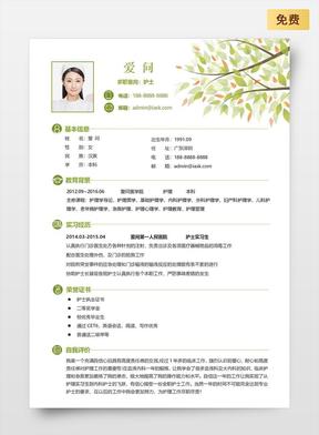 护士-通用双页简历模板02.doc