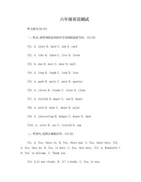 译林英语小学六年级1、2单元测试.doc