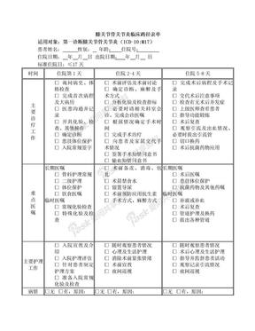 膝关节骨关节炎临床路径表单.doc
