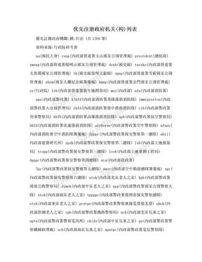 优先注册政府机关(构)列表.doc