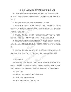 ´杭州北大青鸟网络营销学院淘宝班课程介绍.doc