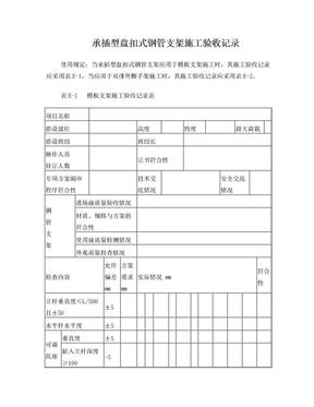 承插型盘扣式钢管支架施工验收记录表格.doc