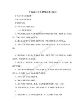 合伙公司财务制度范本(范本).doc