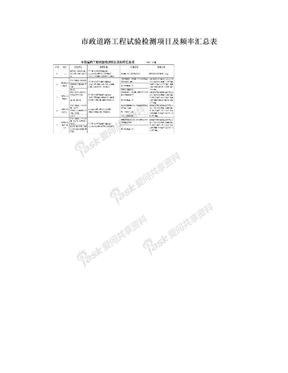市政道路工程试验检测项目及频率汇总表.doc