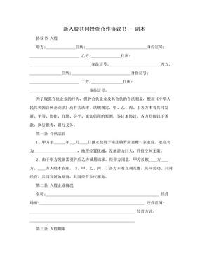 新入股共同投资合作协议书 - 副本.doc