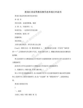 黑龙江省高等教育教学改革项目申请书.doc