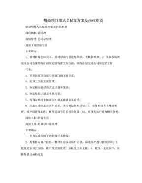 招商项目部人员配置方案及岗位职责.doc