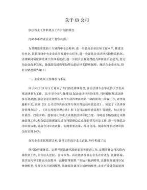 XX公司依法治企工作和重点工作计划的报告.doc