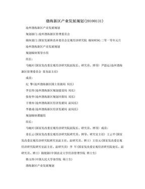 渤海新区产业发展规划(20100131).doc