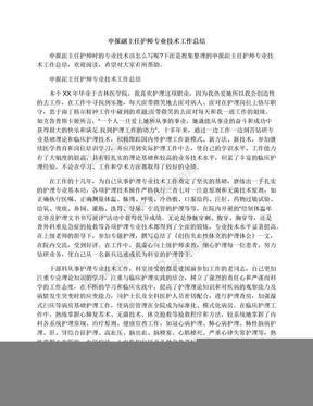 申报副主任护师专业技术工作总结.docx
