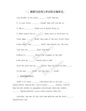 小升初英语形容词和副词练习试卷.doc