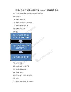 四川大学华西医院多重耐药菌(mdro)消毒隔离流程.doc