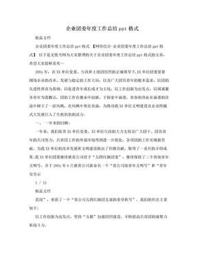 企业团委年度工作总结ppt格式.doc