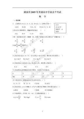 2009-2017年湖南省普通高中学业水平考试数学试卷及答案.doc