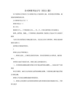 公司担保书怎么写(范文2篇).doc
