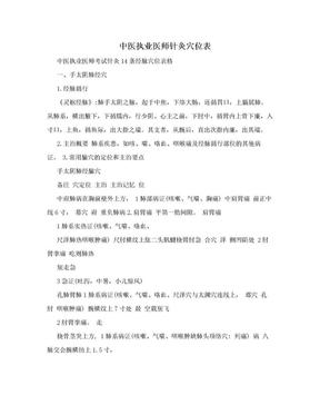中医执业医师针灸穴位表.doc