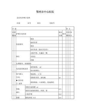 急诊科护理计划单.doc