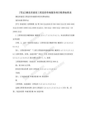 [笔记]湖北省建设工程造价咨询服务项目收费标准表.doc