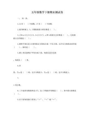 人教版数学五年级下册期末测试卷.doc