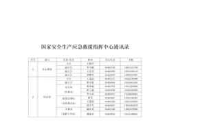 国家安全生产应急救援指挥中心通讯录.doc