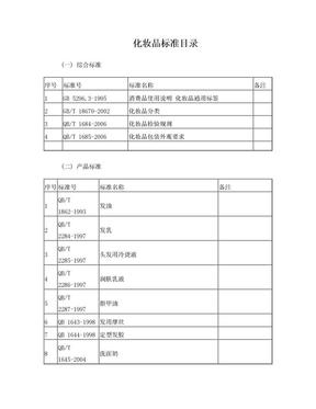 化妆品执行标准目录.doc