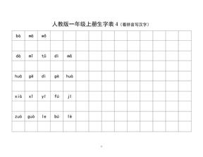 人教版一年级上册生字表4(看拼音写汉字).doc