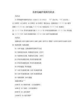 各种电磁炉故障代码表.doc