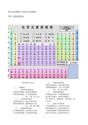 化学元素周期表口诀附带元素周期表及各元素用途.doc