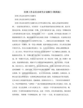 任教工作总结及研究计划报告(精简版).doc
