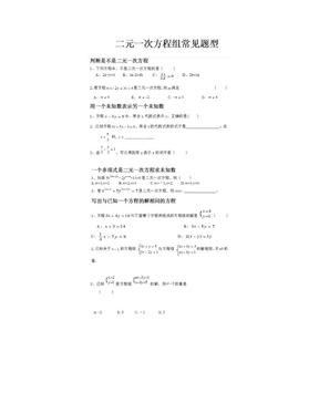 二元一次方程组常考题型分类总结(超全面).doc