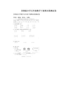 苏教版小学五年级数学下册期末检测试卷.doc
