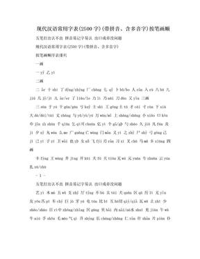 现代汉语常用字表(2500字)(带拼音、含多音字)按笔画顺.doc