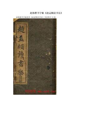 赵体楷书字帖《赵孟頫读书乐》.doc