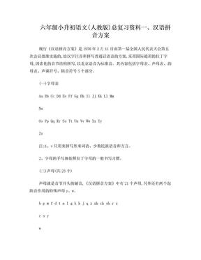 六年级小升初语文(人教版)总复习资料.doc