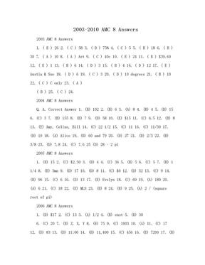 2003-2010 AMC 8 Answers.doc