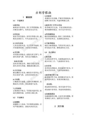 中医方剂歌诀-七版为主补充五版.doc