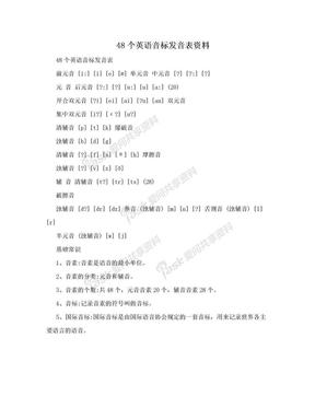 48个英语音标发音表资料.doc