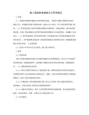 施工现场职业健康安全管理规定.doc