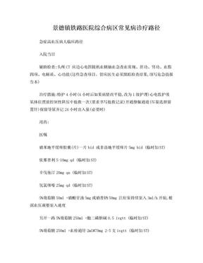 景德镇铁路医院综合病区常见病诊疗路径.doc