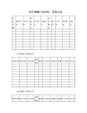 医疗器械质量管理记录表格(横表).doc