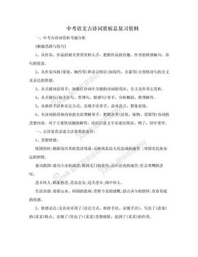 中考语文古诗词赏析总复习资料.doc