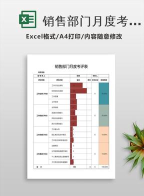 销售部门月度考评表Excel模板.xlsx