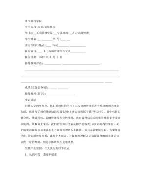 人力资源管理综合实训总结报告.doc