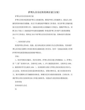 护理人员分层次培训计划[方案].doc