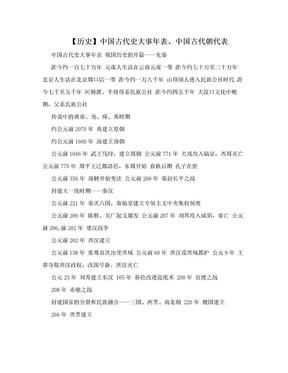 【历史】中国古代史大事年表、中国古代朝代表.doc