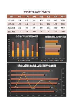 外贸进出口业绩年中分析报告excel图表表格模板.xlsx